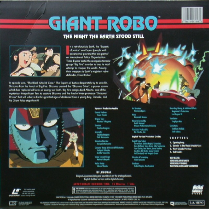 "Giant Robo: The Night the Earth Stood Still Volume 1, Episode 1 ""The Black Attaché Case"": Back"
